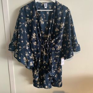 Blue floral ruffle kimono cover up